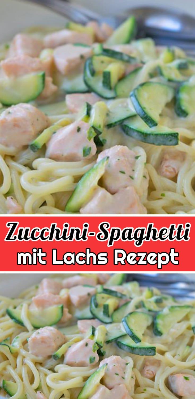 Zucchini-Spaghetti mit Lachs Rezept